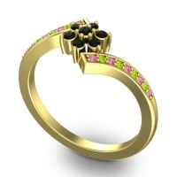 Simple Floral Pave Utpala Black Onyx Ring with Pink Tourmaline and Peridot in 14k Yellow Gold