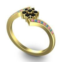 Simple Floral Pave Utpala Black Onyx Ring with Pink Tourmaline and Swiss Blue Topaz in 18k Yellow Gold