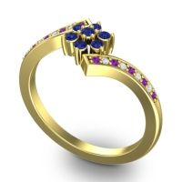 Simple Floral Pave Utpala Blue Sapphire Ring with Amethyst and Diamond in 18k Yellow Gold