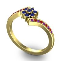 Simple Floral Pave Utpala Blue Sapphire Ring with Amethyst and Ruby in 14k Yellow Gold