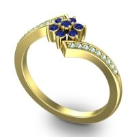 Simple Floral Pave Utpala Blue Sapphire Ring with Aquamarine in 18k Yellow Gold