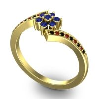 Simple Floral Pave Utpala Blue Sapphire Ring with Black Onyx and Garnet in 18k Yellow Gold