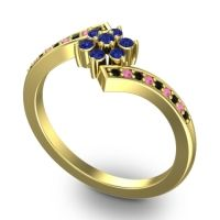 Simple Floral Pave Utpala Blue Sapphire Ring with Black Onyx and Pink Tourmaline in 18k Yellow Gold