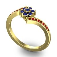 Simple Floral Pave Utpala Blue Sapphire Ring with Garnet and Ruby in 14k Yellow Gold