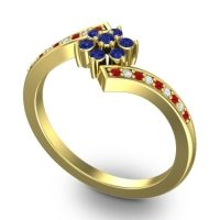 Simple Floral Pave Utpala Blue Sapphire Ring with Ruby and Diamond in 14k Yellow Gold