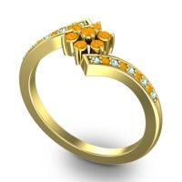 Simple Floral Pave Utpala Citrine Ring with Aquamarine in 18k Yellow Gold