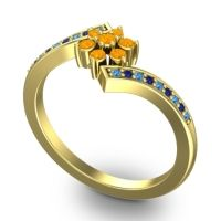 Simple Floral Pave Utpala Citrine Ring with Swiss Blue Topaz and Blue Sapphire in 14k Yellow Gold