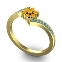 Simple Floral Pave Utpala Citrine Ring with Swiss Blue Topaz in 14k Yellow Gold