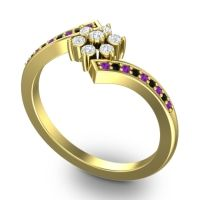 Simple Floral Pave Utpala Diamond Ring with Amethyst and Black Onyx in 14k Yellow Gold