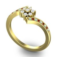 Simple Floral Pave Utpala Diamond Ring with Aquamarine and Garnet in 14k Yellow Gold