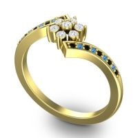 Simple Floral Pave Utpala Diamond Ring with Black Onyx and Swiss Blue Topaz in 18k Yellow Gold