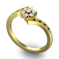Diamond Simple Floral Pave Utpala Ring with Citrine and Blue Sapphire in 14k Yellow Gold