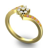 Simple Floral Pave Utpala Diamond Ring with Citrine and Pink Tourmaline in 18k Yellow Gold