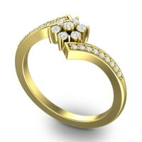 Simple Floral Pave Utpala Diamond Ring in 14k Yellow Gold