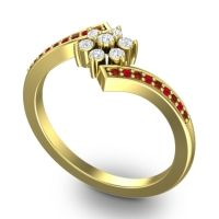 Simple Floral Pave Utpala Diamond Ring with Garnet and Ruby in 18k Yellow Gold