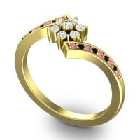 Simple Floral Pave Utpala Diamond Ring with Pink Tourmaline and Black Onyx in 14k Yellow Gold