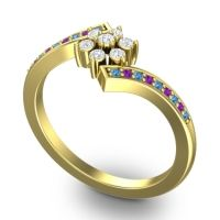 Simple Floral Pave Utpala Diamond Ring with Swiss Blue Topaz and Amethyst in 18k Yellow Gold