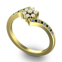 Diamond Simple Floral Pave Utpala Ring with Swiss Blue Topaz and Black Onyx in 18k Yellow Gold