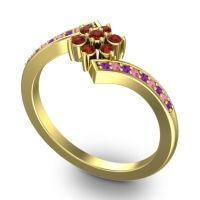 Simple Floral Pave Utpala Garnet Ring with Amethyst and Pink Tourmaline in 18k Yellow Gold