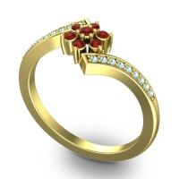 Simple Floral Pave Utpala Garnet Ring with Aquamarine in 14k Yellow Gold