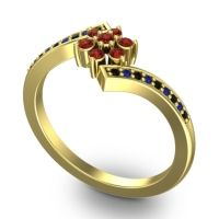 Simple Floral Pave Utpala Garnet Ring with Black Onyx and Blue Sapphire in 14k Yellow Gold