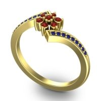 Garnet Simple Floral Pave Utpala Ring with Blue Sapphire in 18k Yellow Gold