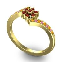 Simple Floral Pave Utpala Garnet Ring with Citrine and Pink Tourmaline in 14k Yellow Gold