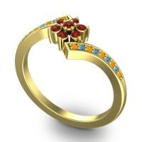Garnet Simple Floral Pave Utpala Ring with Citrine and Swiss Blue Topaz in 18k Yellow Gold