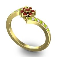 Simple Floral Pave Utpala Garnet Ring with Peridot and Diamond in 14k Yellow Gold