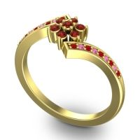 Garnet Simple Floral Pave Utpala Ring with Ruby and Pink Tourmaline in 14k Yellow Gold
