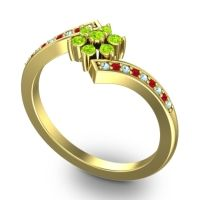 Simple Floral Pave Utpala Peridot Ring with Aquamarine and Ruby in 14k Yellow Gold
