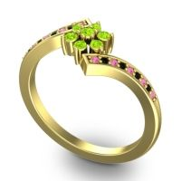 Peridot Simple Floral Pave Utpala Ring with Pink Tourmaline and Black Onyx in 18k Yellow Gold
