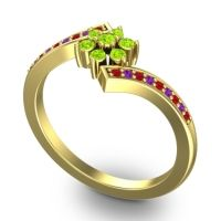 Simple Floral Pave Utpala Peridot Ring with Ruby and Amethyst in 14k Yellow Gold