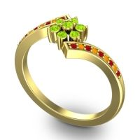 Simple Floral Pave Utpala Peridot Ring with Ruby and Citrine in 14k Yellow Gold