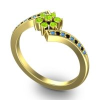 Simple Floral Pave Utpala Peridot Ring with Swiss Blue Topaz and Black Onyx in 14k Yellow Gold