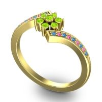 Simple Floral Pave Utpala Peridot Ring with Swiss Blue Topaz and Pink Tourmaline in 18k Yellow Gold
