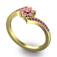 Simple Floral Pave Utpala Pink Tourmaline Ring with Amethyst in 14k Yellow Gold