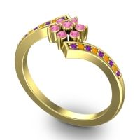 Simple Floral Pave Utpala Pink Tourmaline Ring with Amethyst and Citrine in 14k Yellow Gold
