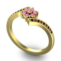 Simple Floral Pave Utpala Pink Tourmaline Ring with Black Onyx and Garnet in 18k Yellow Gold