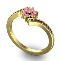 Simple Floral Pave Utpala Pink Tourmaline Ring with Blue Sapphire and Garnet in 18k Yellow Gold