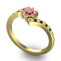 Simple Floral Pave Utpala Pink Tourmaline Ring with Diamond and Black Onyx in 14k Yellow Gold