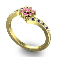 Simple Floral Pave Utpala Pink Tourmaline Ring with Diamond and Blue Sapphire in 14k Yellow Gold