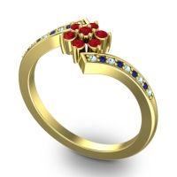 Simple Floral Pave Utpala Ruby Ring with Aquamarine and Blue Sapphire in 18k Yellow Gold