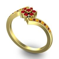 Simple Floral Pave Utpala Ruby Ring with Citrine and Garnet in 18k Yellow Gold