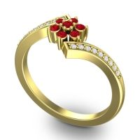 Simple Floral Pave Utpala Ruby Ring with Diamond in 18k Yellow Gold