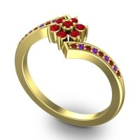 Simple Floral Pave Utpala Ruby Ring with Garnet and Amethyst in 18k Yellow Gold