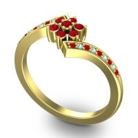 Simple Floral Pave Utpala Ruby Ring with Aquamarine in 14k Yellow Gold