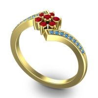 Simple Floral Pave Utpala Ruby Ring with Swiss Blue Topaz in 18k Yellow Gold
