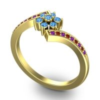 Simple Floral Pave Utpala Swiss Blue Topaz Ring with Amethyst and Garnet in 18k Yellow Gold