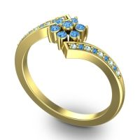 Simple Floral Pave Utpala Swiss Blue Topaz Ring with Aquamarine in 18k Yellow Gold